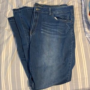 NWOT // boot cut jeans with frayed bottoms